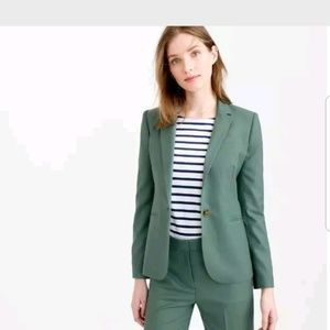 J Crew Blazer Super 120's Wool Green One Button (Z